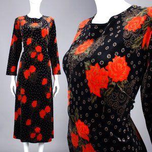 OS 3XL Vintage 90s Rose Velvet Maxi Dress